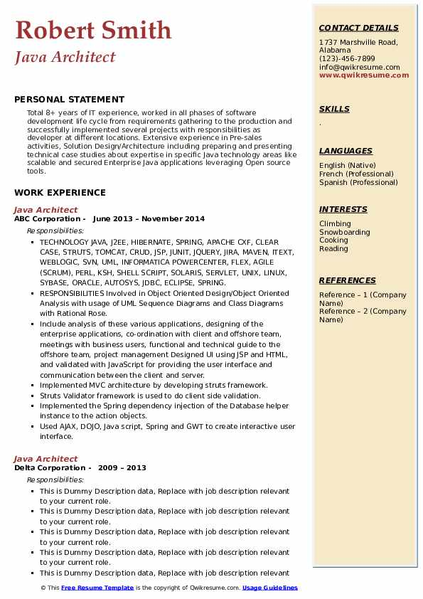 Java Architect Resume example