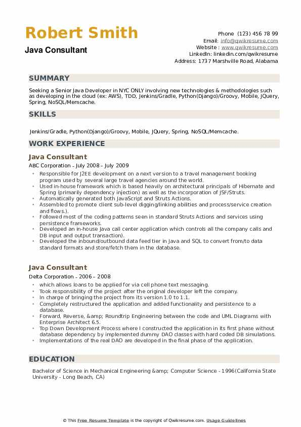 Java Consultant Resume example