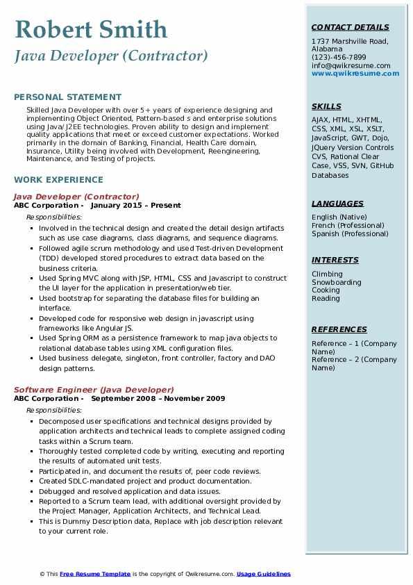 Java Developer Resume Samples | QwikResume