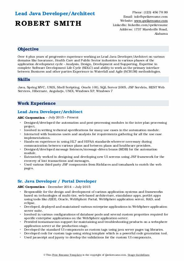 Lead Java Developer/Architect Resume Model