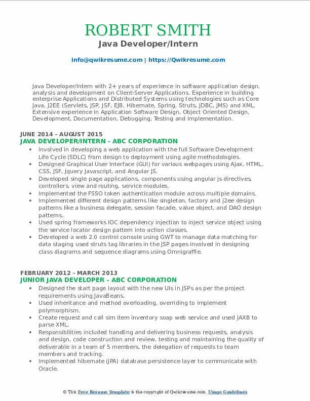 Java Developer/Intern Resume Model