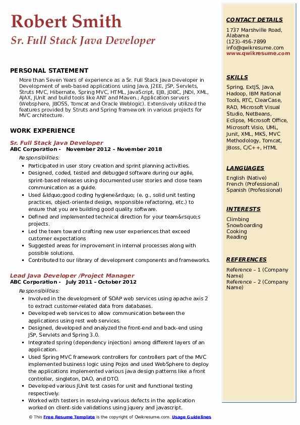 Sr. Full Stack Java Developer Resume Example