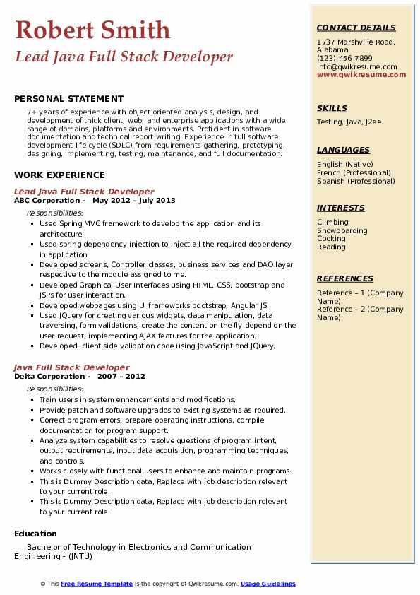 java full stack developer resume samples