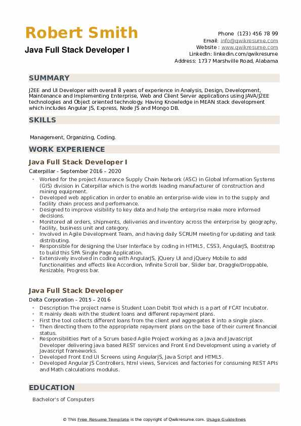 Java Full Stack Developer Resume example