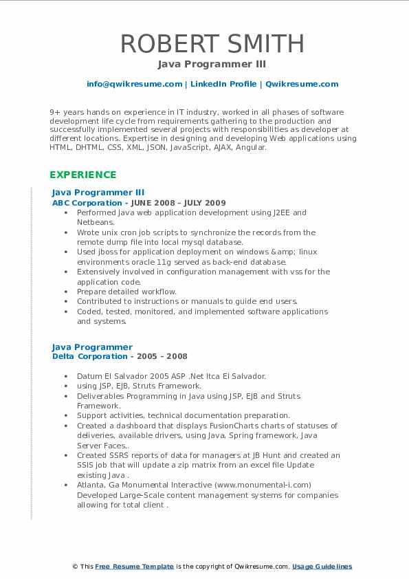 java programmer resume samples  qwikresume
