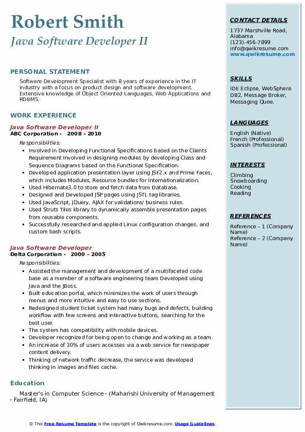 java software developer resume samples