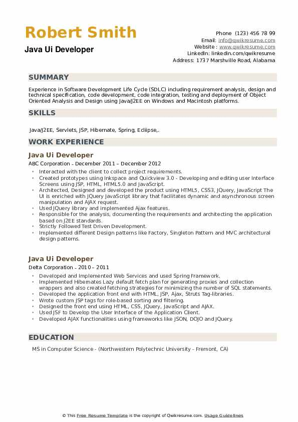Java UI Developer Resume example