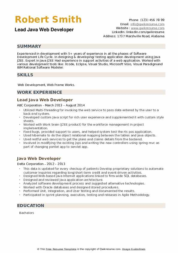 java web developer resume samples