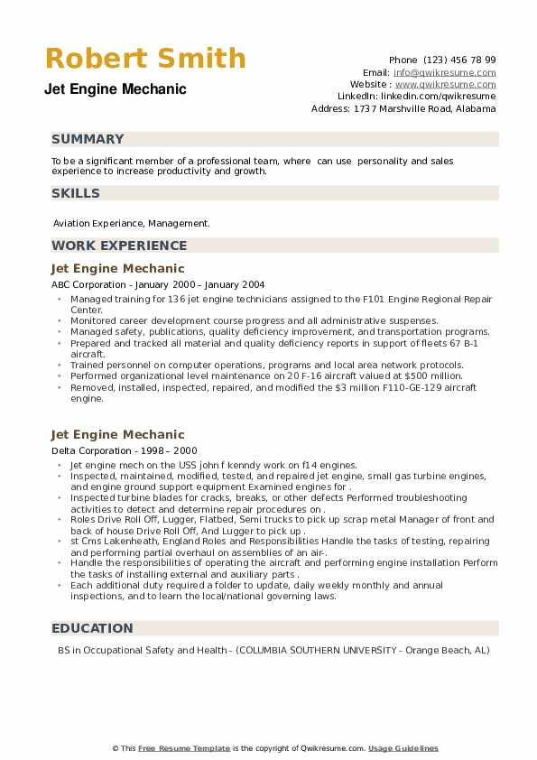 Jet Engine Mechanic Resume example