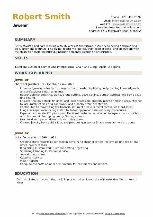 Jeweler Resume example