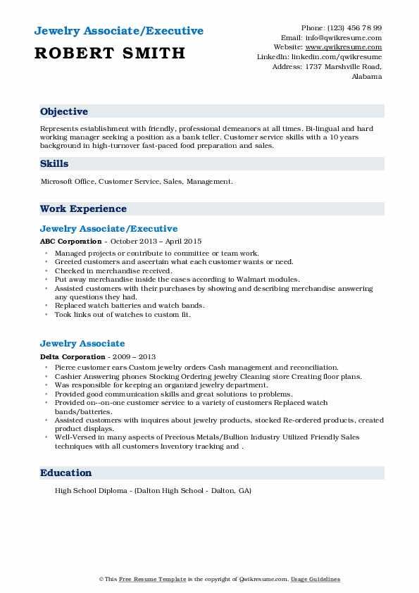 jewelry associate resume samples