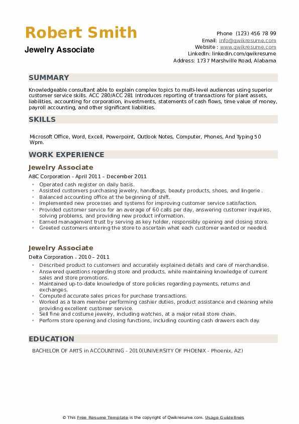 Jewelry Associate Resume example