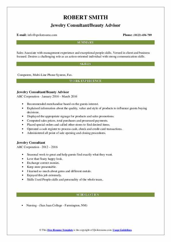 Jewelry Consultant/Beauty Advisor Resume Model