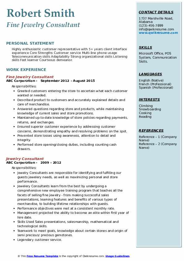 Fine Jewelry Consultant Resume Sample