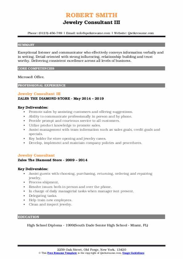 Jewelry Consultant III Resume Example