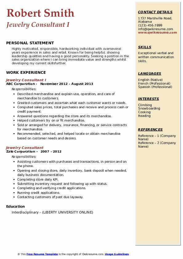 Jewelry Consultant I Resume Sample