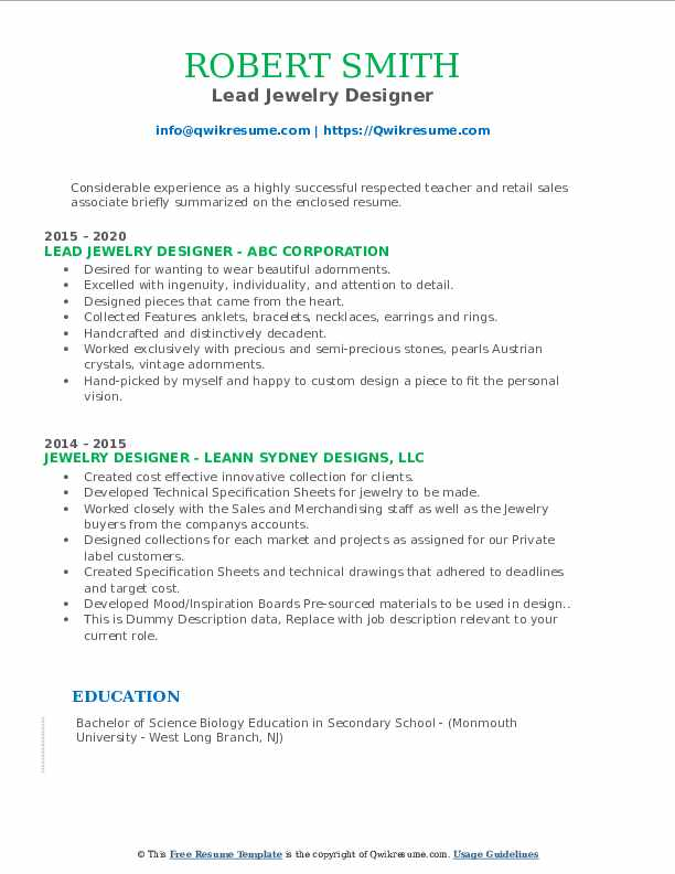 jewelry designer resume samples