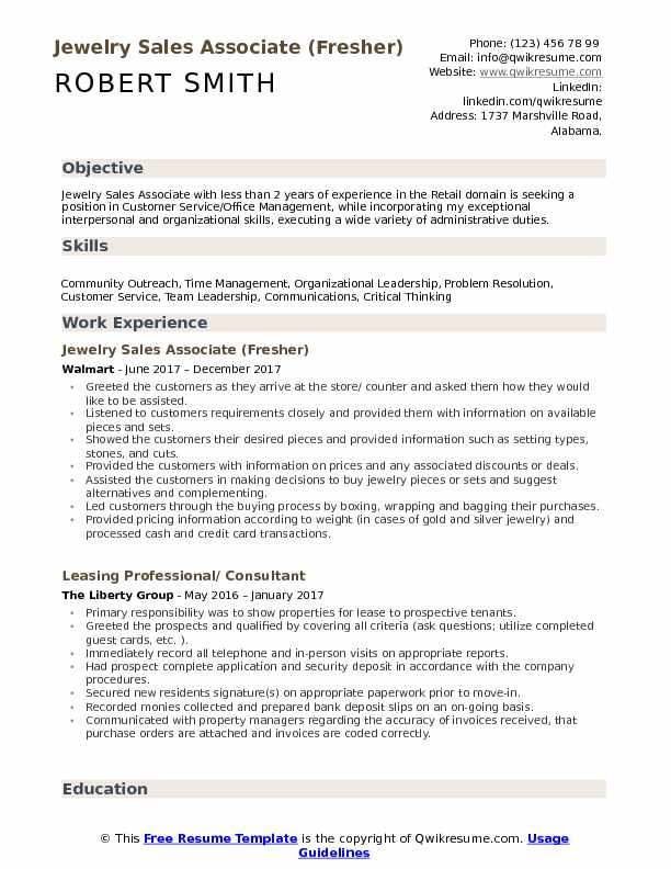 Jewelry Sales Associate (Fresher) Resume Example
