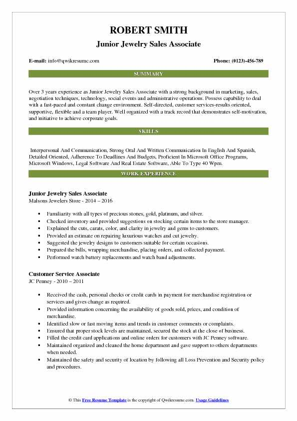 Junior Jewelry Sales Associate Resume Example