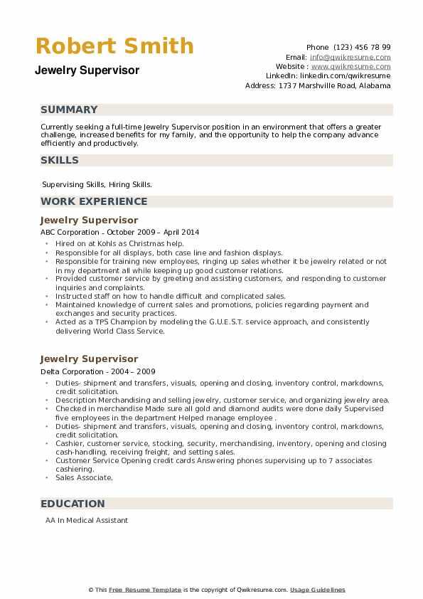 Jewelry Supervisor Resume example