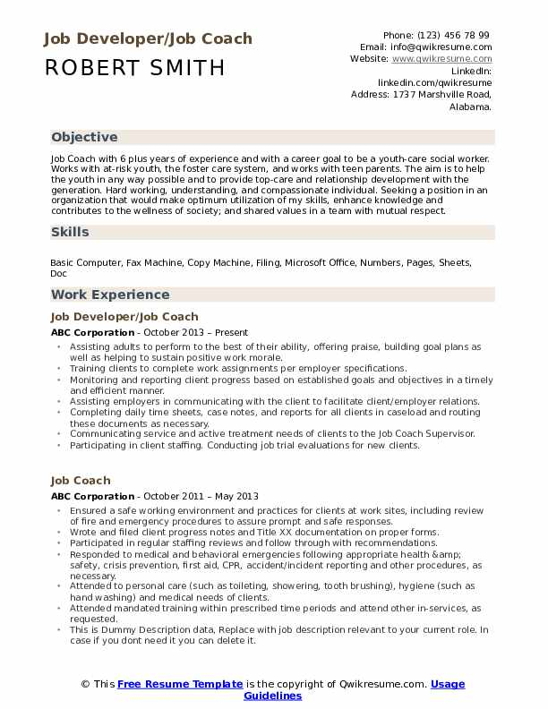 Job Developer/Job Coach Resume Sample