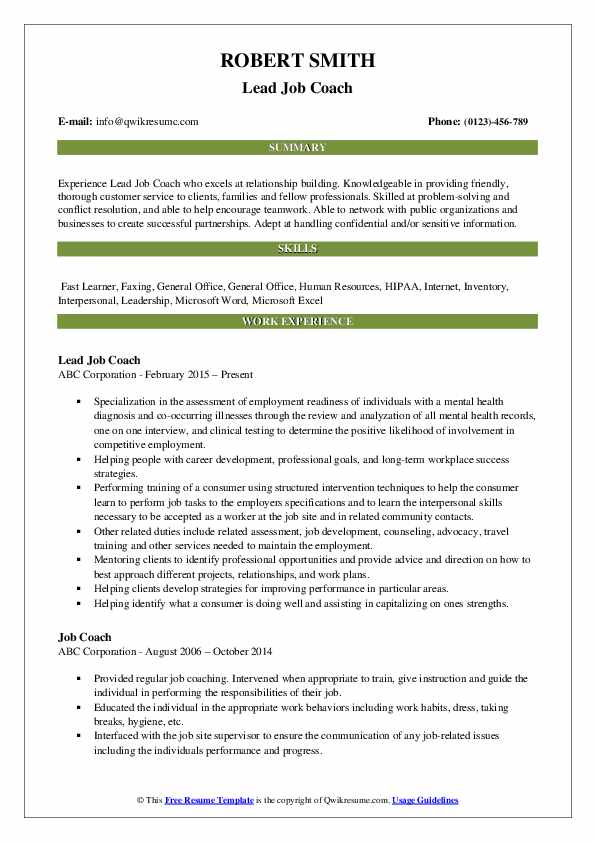 Lead Job Coach Resume Model