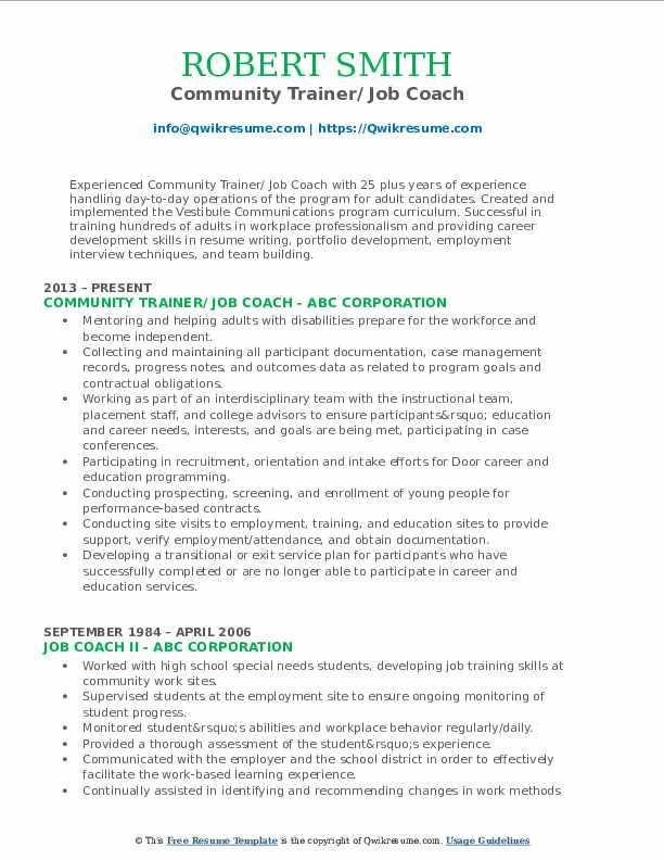 Community Trainer/ Job Coach Resume Example
