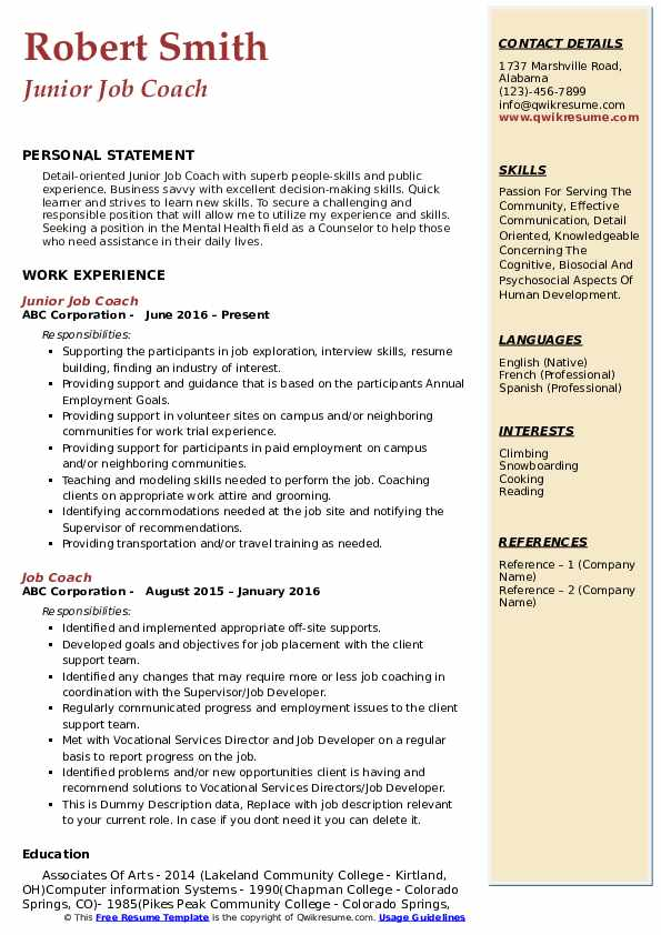 Junior Job Coach Resume Model