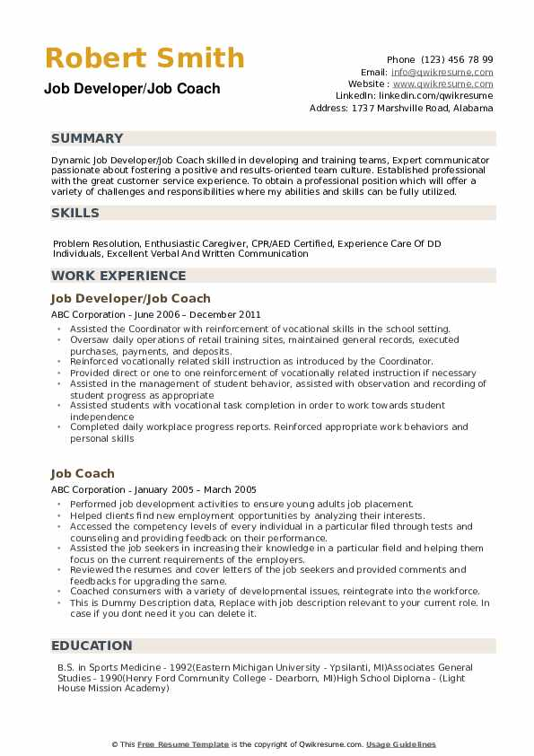 job coach resume samples