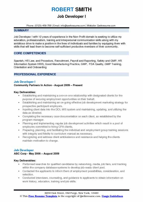 Job Developer I Resume Model