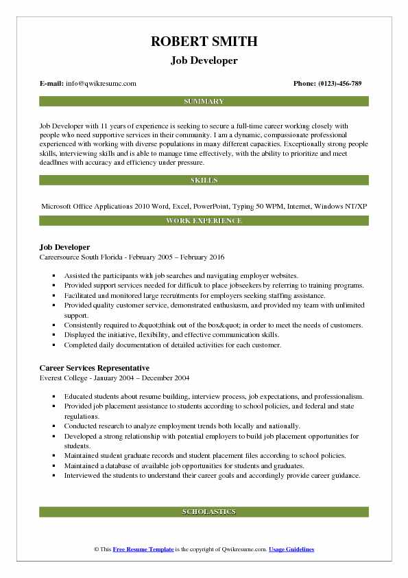 Job Developer Resume Sample