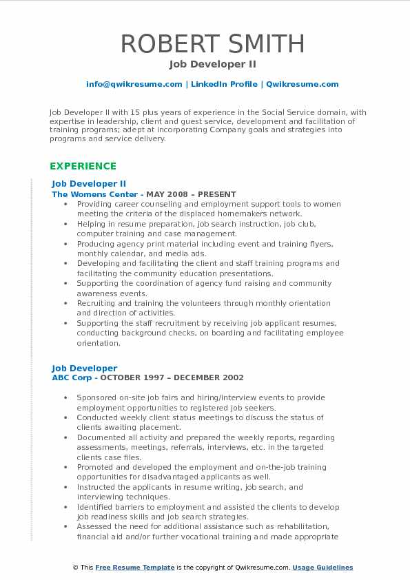 job developer resume samples