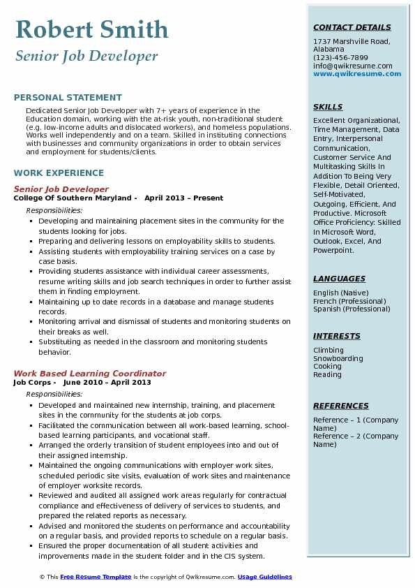 Senior Job Developer Resume Example