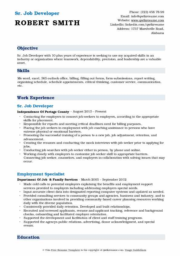 Sr. Job Developer  Resume Format