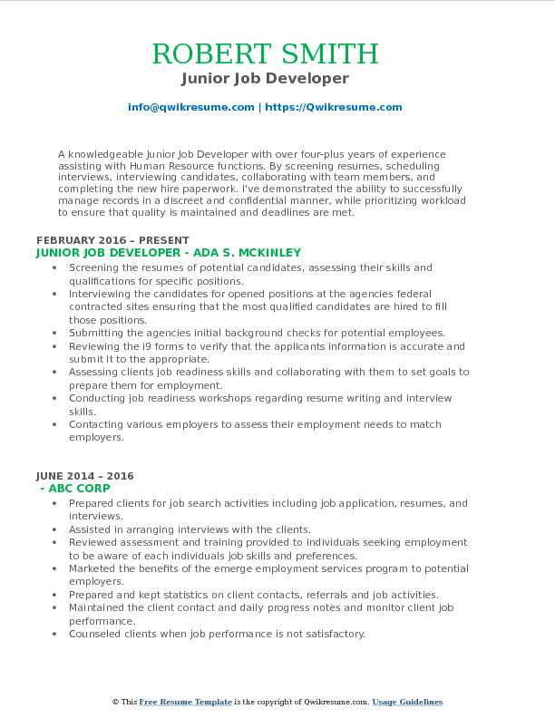 Junior Job Developer Resume Model