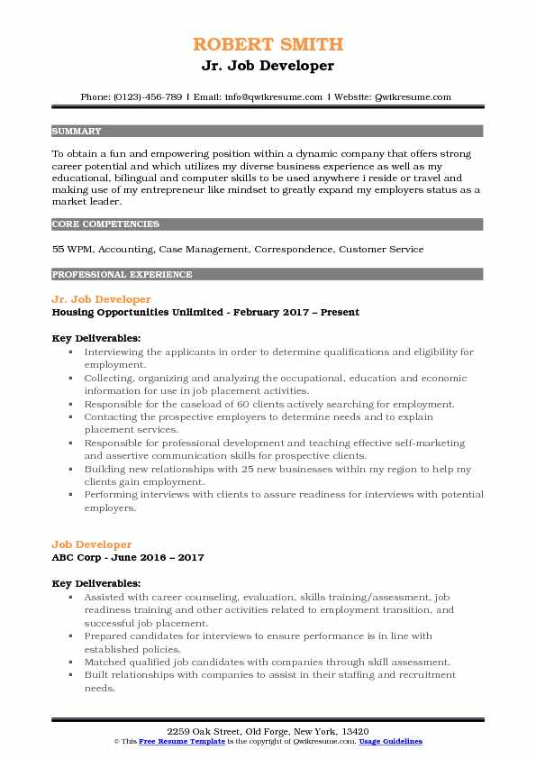 Jr. Job Developer Resume Template