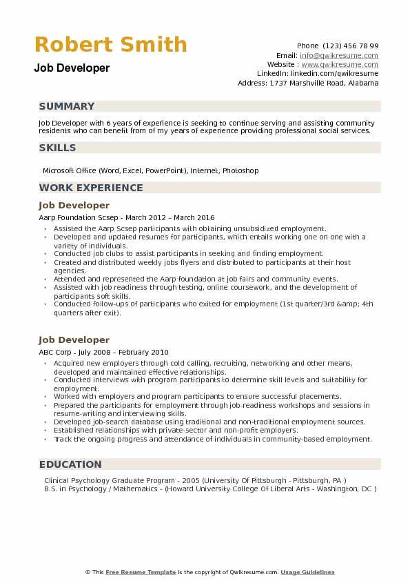 Job Developer Resume example