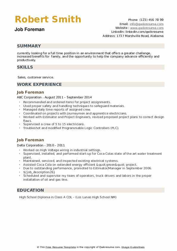 Job Foreman Resume example