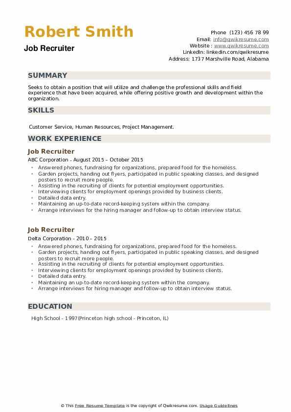 Job Recruiter Resume example