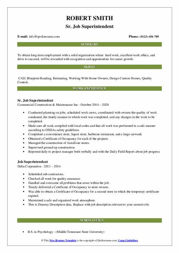 Job Superintendent Resume example