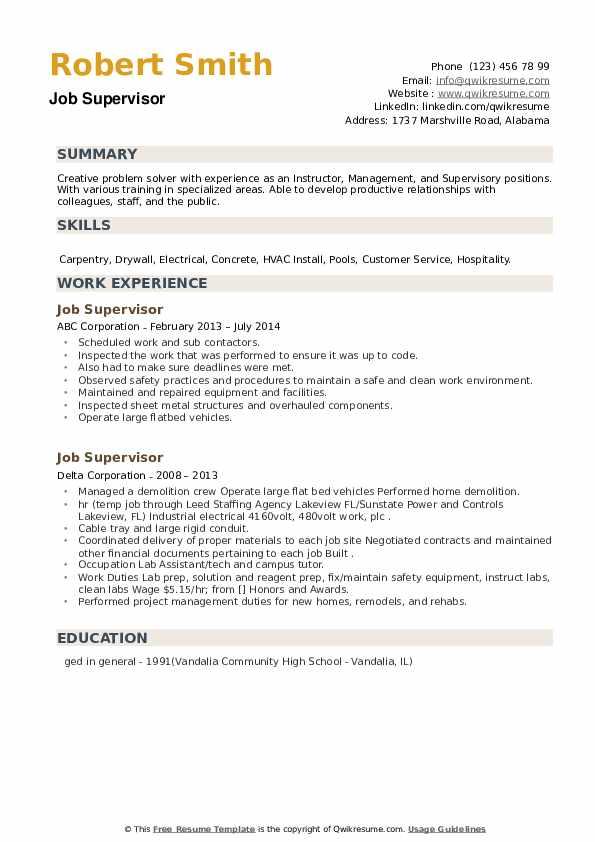 Job Supervisor Resume example