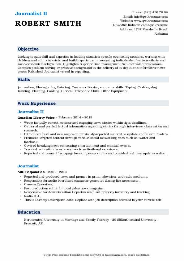 Journalist II Resume Model