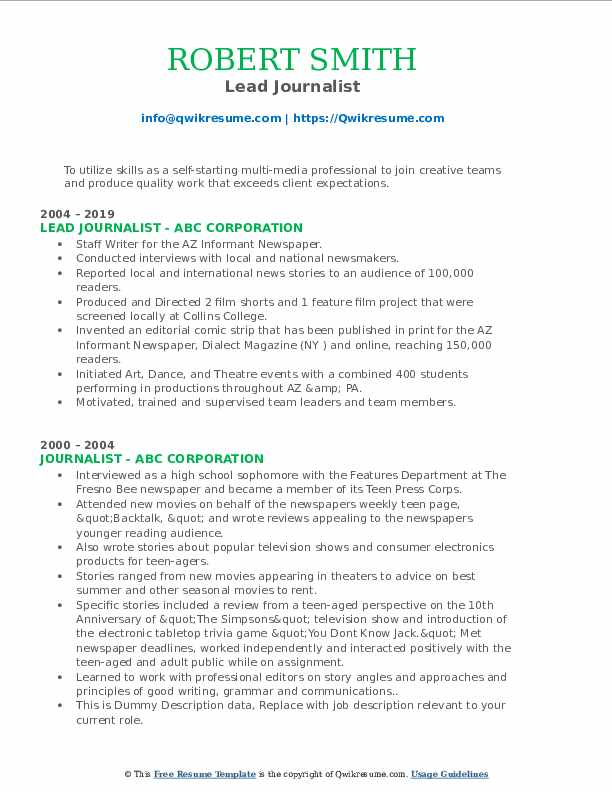 Lead Journalist Resume Format