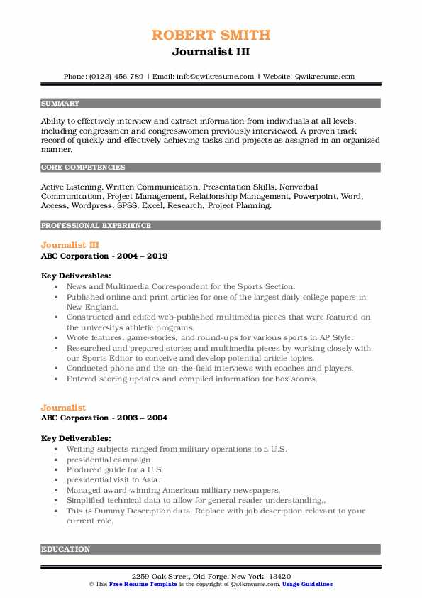 Journalist III Resume Template