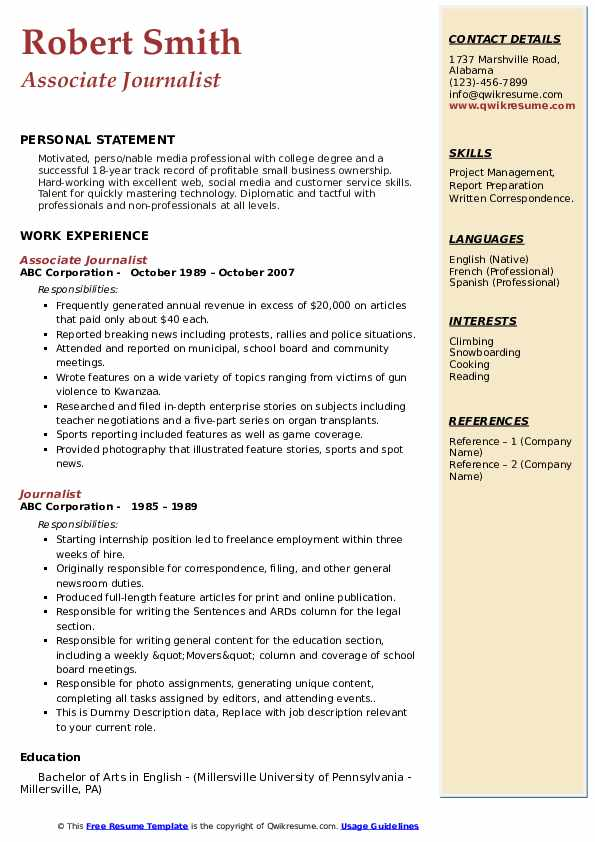 Associate Journalist Resume Sample
