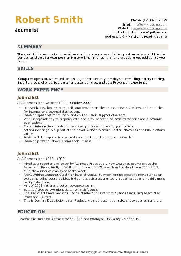 Journalist Resume example
