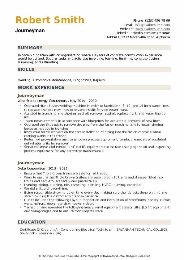 Journeyman Resume example