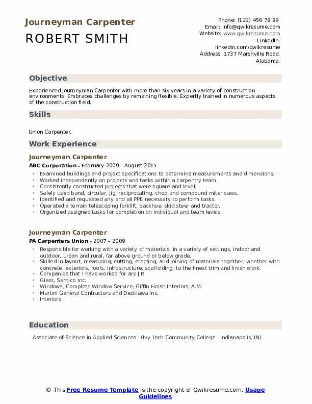 Journeyman Carpenter Resume Model
