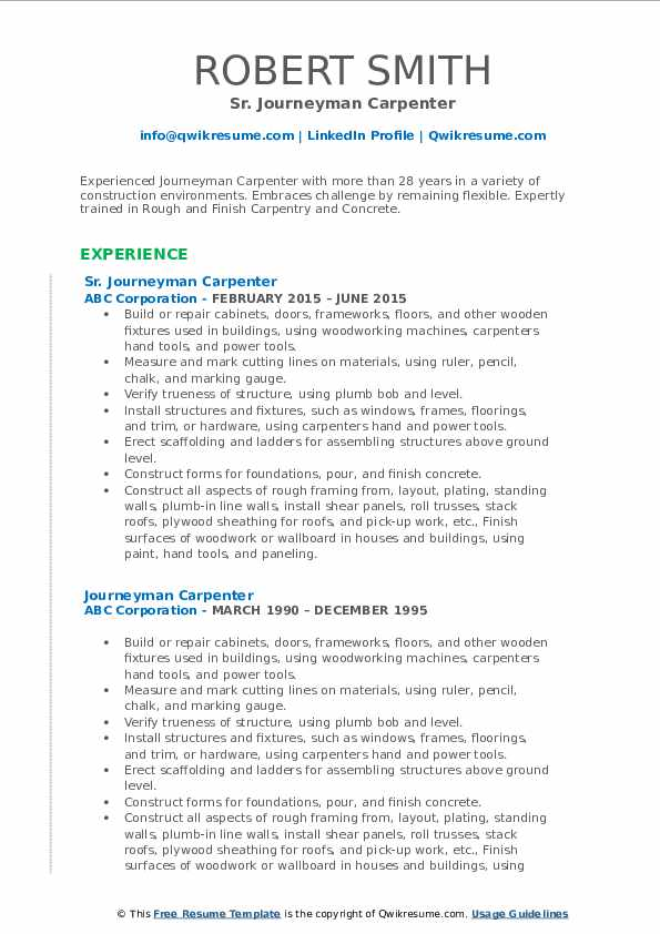 Sr. Journeyman Carpenter Resume Sample