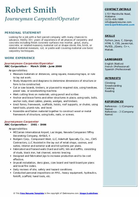 Journeyman Carpenter/Operator Resume Sample